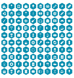 100 cafe icons sapphirine violet vector image vector image