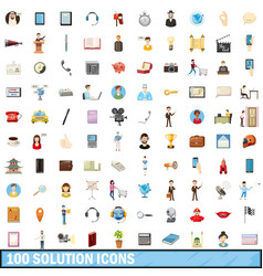 100 solution icons set cartoon style vector