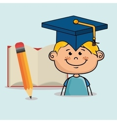 Student boy notebook pencil vector