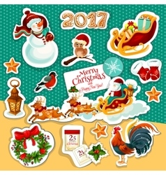 Christmas and New Year winter holidays sticker set vector image