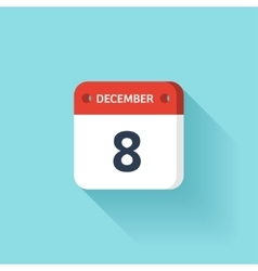 December 8 isometric calendar icon with shadow vector