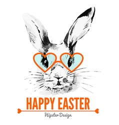 Hipster easter rabbit card vector