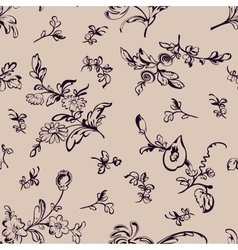 Seamless pattern flower beige background vector