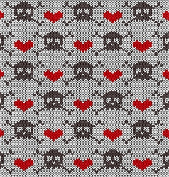 Knitted seamless pattern with skulls vector