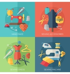 Sewing dress accessories hand made icons vector
