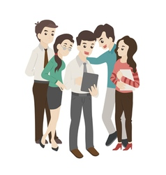 Group of business man and woman look at something vector