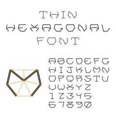 Hexagonal abc geometric font letters and digits vector