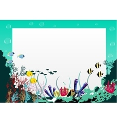 Blank board with blue sea underwater background vector