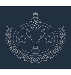 Basketball golden goblet and crown lineart vector