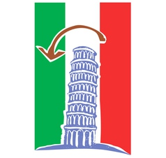 Tower of pisa and italian flag vector