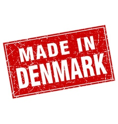 Denmark red square grunge made in stamp vector