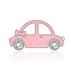 Pink female car with floral ornament vector