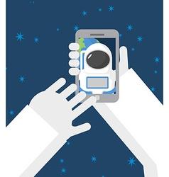 Astronaut makes selfie in space Astronaut vector image vector image