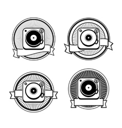 Black and white record player vector image