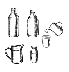 Bottles jugs and glass of milk vector image vector image