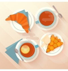 Breakfast for two with tea apricot pie and vector