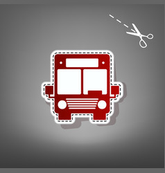 Bus sign red icon with for vector