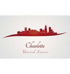 Charlotte skyline in red vector image vector image