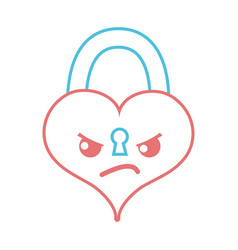 Color line angry heart padlock kawaii personage vector