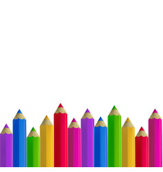 Colour pencils border on white background vector