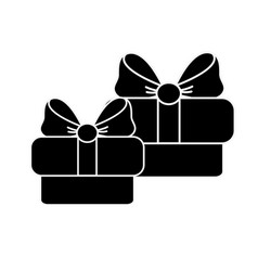 Contour gifts presents with ribbon decoration to vector
