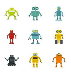 cyborg icons set flat style vector image