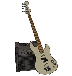Electric fretless bass guitar and the combo vector