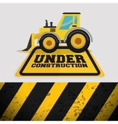 Excavator machinery under construction sign vector