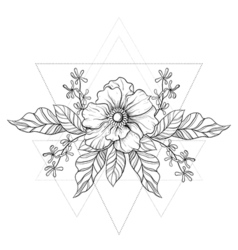 Hand drawn boho tattoo blackwork flower in hipster vector
