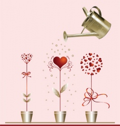Hearts and watering can vector