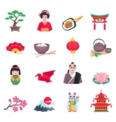 Japanese Culture Symbols Flat Icons Set vector image vector image