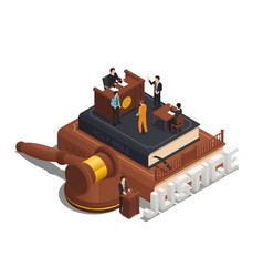 law justice isometric composition icon vector image vector image