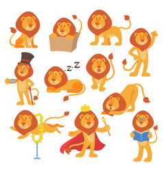 Lion mascot pose happy cartoon cute wild vector