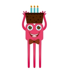 Monster cartoon with cake isolated icon design vector