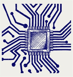 Motherboard with microchip vector image vector image