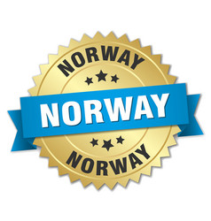 Norway round golden badge with blue ribbon vector