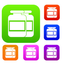 Nutritional supplement for athletes set collection vector