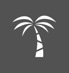 palm tree icon on a dark background vector image vector image