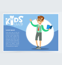 poster for kids club with school boy character vector image