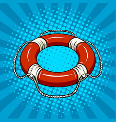 red life buoy on the water pop art vector image