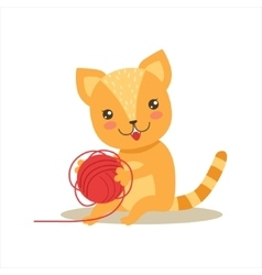 Red Little Girly Cute Kitten Playing With Clew vector image vector image