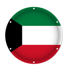 Round metallic flag of kuwait with screw holes vector