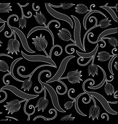 seamless pattern with tulips on black background vector image