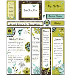 Set of Floral Banners and Adverts in Many vector image