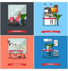 Set of veterinary care concept posters vector