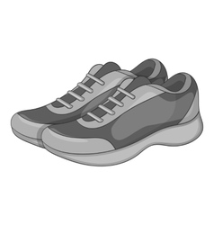 Sport sneakers icon gray monochrome style vector