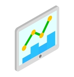 Tablet with graph and chart icon isometric 3d vector