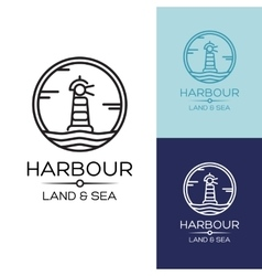 Flat lighthouse icon on blue sea vector
