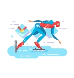 Ice speed skater cartoon character vector