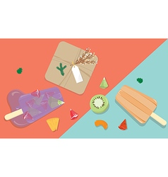 Homemade fruit popsicles with gift box vector